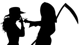 Vector silhouette of a woman with the Grim Reaper. Stock Image