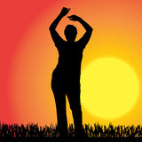 Vector silhouette of a woman. Royalty Free Stock Images