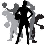 Vector silhouette of a woman. Vector silhouette of a woman playing volleyball on a white background Royalty Free Stock Photography