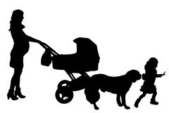 Vector silhouette of a woman with a pram. Royalty Free Stock Image