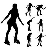 Vector silhouette of a woman on roller skates. Royalty Free Stock Image