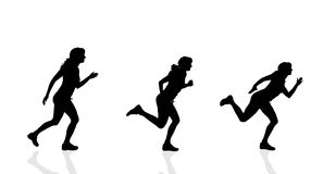 Vector silhouette of a woman running. Stock Image