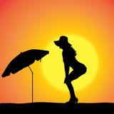 Vector silhouette of a woman. Vector silhouette of a woman on the beach vector illustration