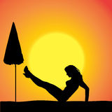 Vector silhouette of a woman. Vector silhouette of a woman on the beach royalty free illustration