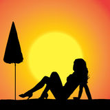 Vector silhouette of a woman. Vector silhouette of a woman on the beach stock illustration