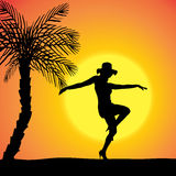 Vector silhouette of a woman. Vector silhouette of a woman who dancing on the beach vector illustration