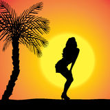 Vector silhouette of a woman. Vector silhouette of a woman who dancing on the beach royalty free illustration