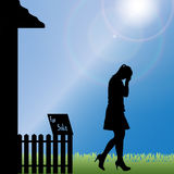 Vector silhouette of a woman. Stock Photography