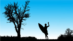 Vector silhouette of a woman with surfboard. Royalty Free Stock Photography
