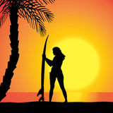 Vector silhouette of a woman with a surfboard. Royalty Free Stock Photo