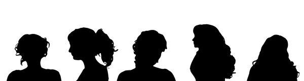 Vector silhouette of a woman. Stock Image