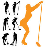 Vector silhouette of the woman who cleans. Royalty Free Stock Photography