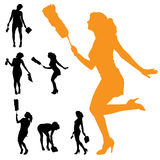 Vector silhouette of the woman who cleans. Royalty Free Stock Images