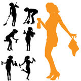 Vector silhouette of the woman who cleans. Stock Photos