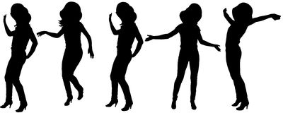 Vector silhouette of a woman. Vector silhouette of a woman who dances on a white background Royalty Free Illustration