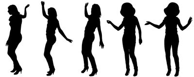 Vector silhouette of a woman. Vector silhouette of a woman who dances on a white background Stock Illustration