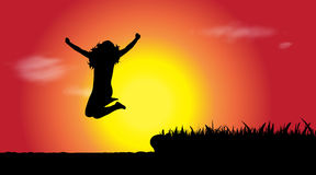 Vector silhouette of woman who jumps. Stock Image