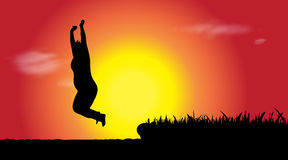 Vector silhouette of woman who jumps. Stock Photo