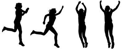 Vector silhouette of a woman. Vector silhouette of a woman who jumps on white background vector illustration