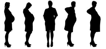 Vector silhouette of a woman who is pregnant. Stock Images