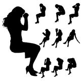 Vector silhouette of woman. Stock Photography