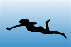Vector silhouette of woman who swim. Royalty Free Stock Photos