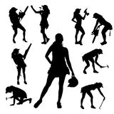 Vector silhouette of a woman. Vector silhouette of a woman working with tools on a white background royalty free illustration