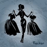 Vector silhouette of women Royalty Free Stock Photography