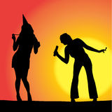 Vector silhouette women. Vector silhouette women dancing on a beach royalty free illustration