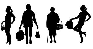 Vector silhouette of women. Vector silhouette of women on a white background Royalty Free Stock Photo