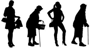 Vector silhouette of women. Royalty Free Stock Photos