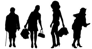 Vector silhouette of women. Stock Image
