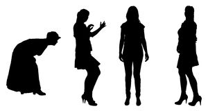 Vector silhouette of women. Royalty Free Stock Photography