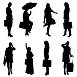 Vector silhouette of women. Stock Image