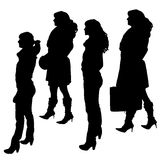 Vector silhouette of women. Vector silhouette of women on a white background royalty free illustration