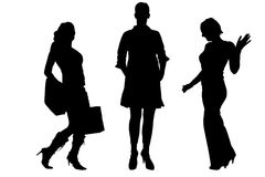 Vector silhouette of a women. Royalty Free Stock Images