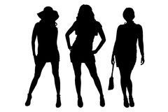 Vector silhouette of a women. Stock Image