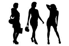 Vector silhouette of a women. Stock Images