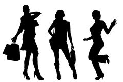 Vector silhouette of a women. Royalty Free Stock Photos