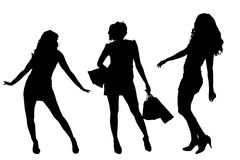 Vector silhouette of a women. Royalty Free Stock Image