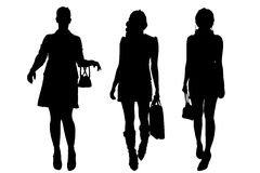 Vector silhouette of a women. Royalty Free Stock Photography