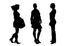Vector silhouette of a women. Royalty Free Stock Photo