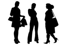 Vector silhouette of a women. Stock Photography