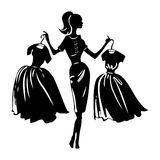 Vector silhouette of women Stock Photography