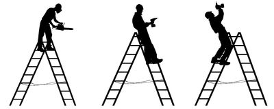Vector silhouette of a worker. Stock Photo