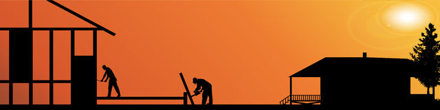 Vector silhouette of workers. Royalty Free Stock Photo