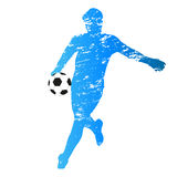Vector silhouette of young soccer goalie Stock Images