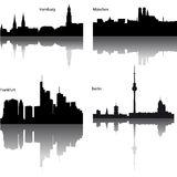 vector silhouetten van Duitse stad Royalty-vrije Stock Foto's