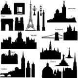 Vector silhouetten van Europese beroemde monumenten Stock Foto's
