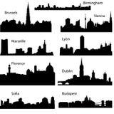 Vector silhouetten van Europese steden Stock Afbeeldingen